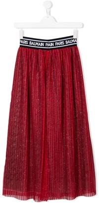 Balmain Kids Glitter Pleated Skirt