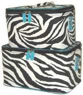 Private Label Blue Trim Zebra Train Case Set Cosmetic Makeup [Misc.]
