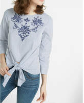 Express embroidered cotton blouse