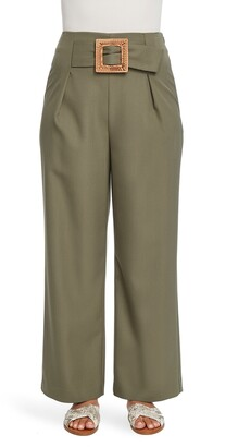 Chaus Belted Wide Leg Twill Pants