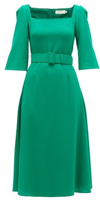 Goat Jubilee Belted Crepe Midi Dress - Womens - Green