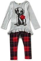 Copper Key Little Girls 2T-6X Christmas Puppy Hi-Low Top & Plaid Leggings Set