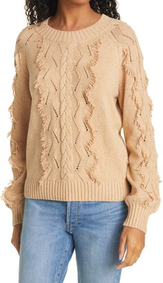 Rails Francis Fringe Cable Knit Sweater