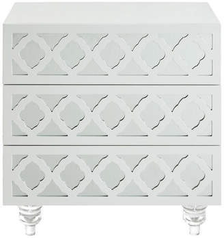 Inspired Home Bennedith 3-drawer Mirrored Lacquer Finish Lucite Leg Side Table, Whit