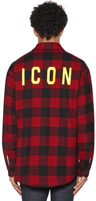 DSQUARED2 ICON PRINT CHECK WOOL FLANNEL SHIRT