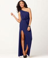 Dress, Sleeveless One Shoulder Blouson Evening Gown