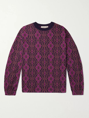 Remi Relief Jacquard-Knit Sweatshirt - Men - Purple