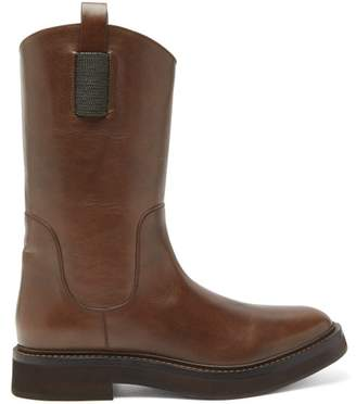 Brunello Cucinelli Tread-sole Leather Boots - Womens - Tan