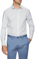 James Tattersall Windowpane Print Dress Shirt