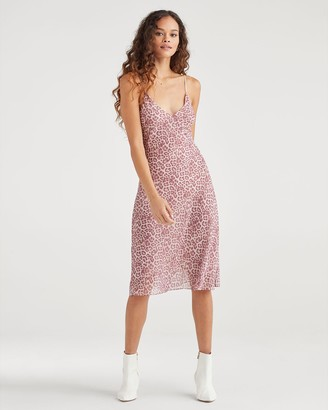 7 For All Mankind Seamed Chiffon Slip Dress in Rose Leopard