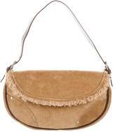Casadei Corduroy & Leather Shoulder Bag
