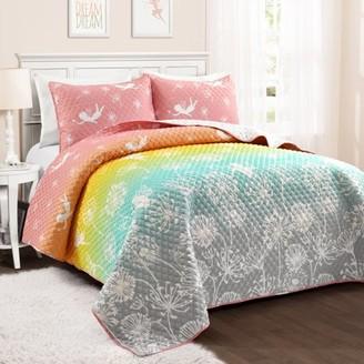 Lush Decor Make A Wish Dandelion Fairy Ombre Quilt Pastel Rainbow