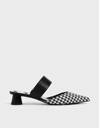 Charles & Keith Houndstooth Print Woven Fabric Mules