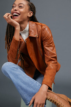 Anthropologie Robyn Faux Leather Moto Jacket By in Brown Size XS