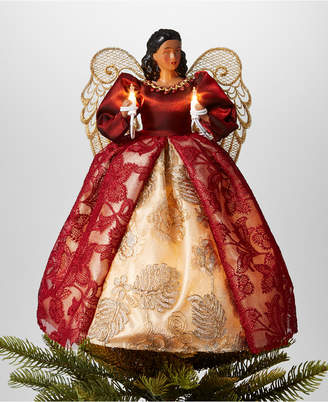 """Holiday Lane 14""""H African American Angel Christmas Tree Topper with Led lights in Burgundy Dress"""