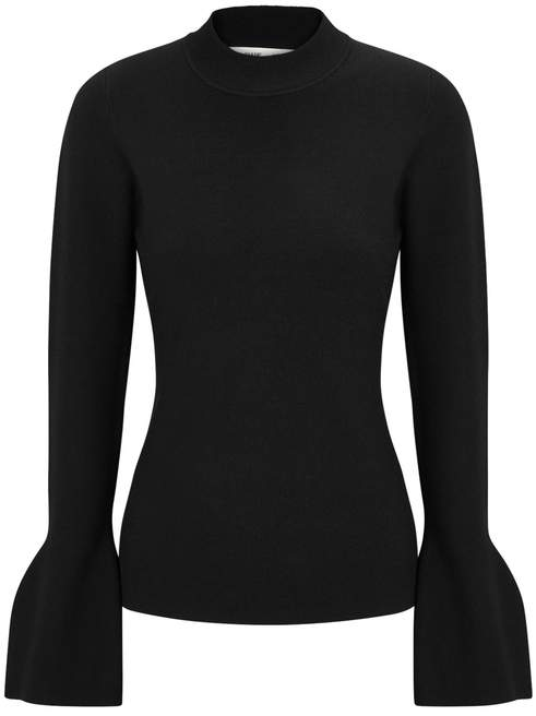 Diane von Furstenberg Black Flared-cuff Stretch-knit Jumper