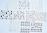 Combineshopping latest fashion hot selling 3D new design nail decal nail sticker 10PCS/PACKAGE, the designs include lovely rabbits/white butterfly flowers/colorful flowers/ heart/umbrella/etc.