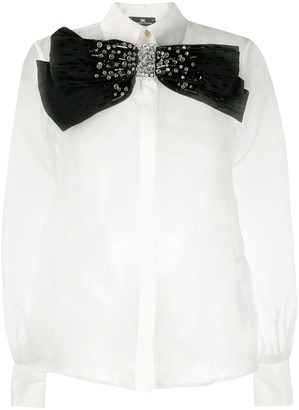 Elisabetta Franchi Transparent Bow Accent Shirt