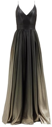 Givenchy V-neck Ombre Silk-blend Lame Gown - Khaki Multi
