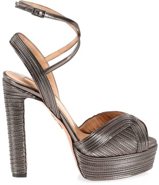 Aquazzura Caprice Metallic Leather Platform Sandals