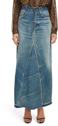Saint Laurent Reconstructed Denim Maxi Skirt