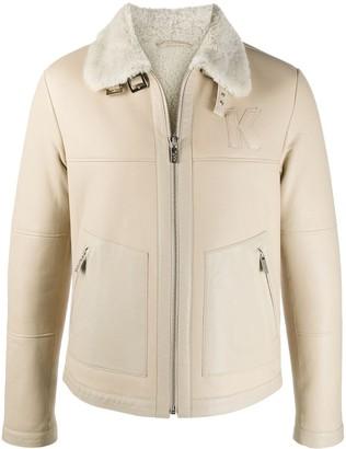 Karl Lagerfeld Paris Shearling Trim Leather Jacket