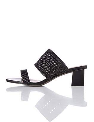 find. Two Band Woven Sandal Open Toe Black)