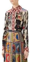 Gucci Tiger Patchwork Silk Shirt