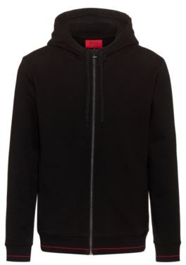 HUGO BOSS Zip Through Hoodie In Cotton Terry With Logo Pocket - Black