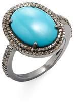 ADORNIA Fine Jewelry Women's Cabochon Sleeping Beauty Turquoise & Diamond Gemma Ring