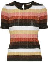 Fendi Metallic Striped Wool-blend Sweater