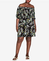 City Chic Trendy Plus Size Maui Smocked Off-The-Shoulder Dress