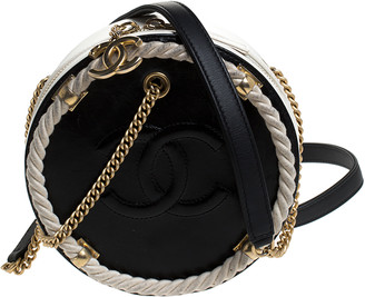 Chanel Black/White Leather 2019 Nautical Round Crossbody Bag