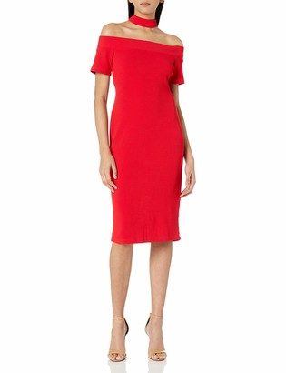 Nicole Miller Studio Women's Waffle Knit Gigi Neck Off the Shoulder Midi Sheath with an Exposed Zipper