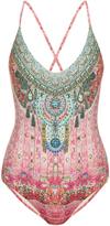 Camilla Belleza-print embellished swimsuit