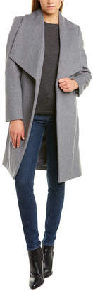 Cole Haan Slick Wool-Blend Wrap Coat