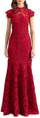 Shoshanna Carlotta Lace Trumpet Dress