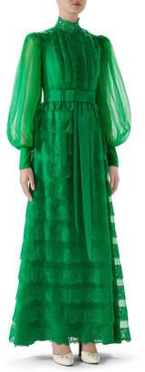 Gucci Full-Sleeve Lightweight Organza Dress
