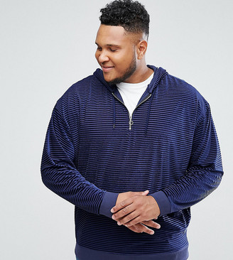 ASOS DESIGN Plus Oversized Hoodie In Striped Velour With Half Zip