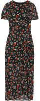 Maje Rancho Ruched Floral-print Chiffon Midi Dress - Black