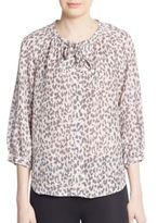 Joie Madera Leopard-Print Silk Blouse