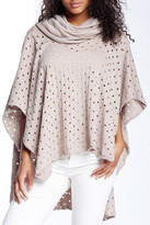 Love Stitch Open Knit Cowl Neck Poncho
