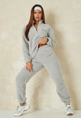 Missguided Grey Borg Half Zip Hoodie And Joggers Co Ord Set
