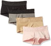 Maidenform Women's 4 Pack Microfiber Boyshort With Lace