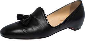 Christian Louboutin Black Nappa and Patent Leather Lady Moc Loafers Size 35