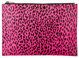 Saint Laurent Leopard Print Leather Large Zip Pouch