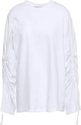 3.1 Phillip Lim Ruched Grosgrain-trimmed Cotton-jersey Top