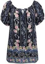 M&Co Floral tie front peasant top