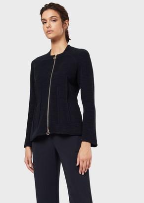 Giorgio Armani Jacquard Jersey Jacket With Ornamental Stitching