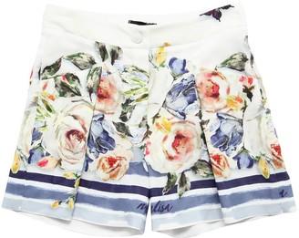 MonnaLisa Floral Printed Satin Shorts